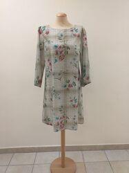Χειροποίητο βαμβακερό φόρεμα καρό φλοραλ