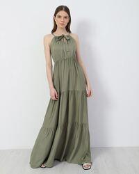 Μάξι φόρεμα αμάνικο - Χακί