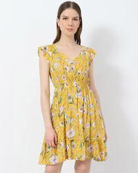 Μίνι φόρεμα κίτρινο floral
